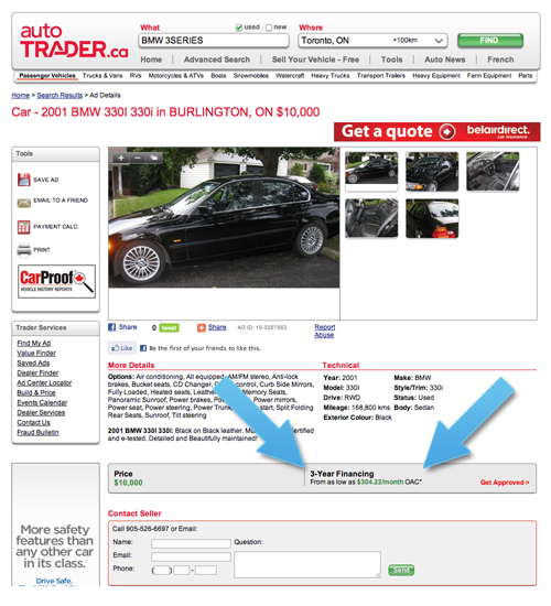Screenshot of CommunityLend auto financing on AutoTrader.ca
